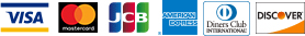 VISA・MasterCard・JCB・AmericanExpress・Diners Club・Discover